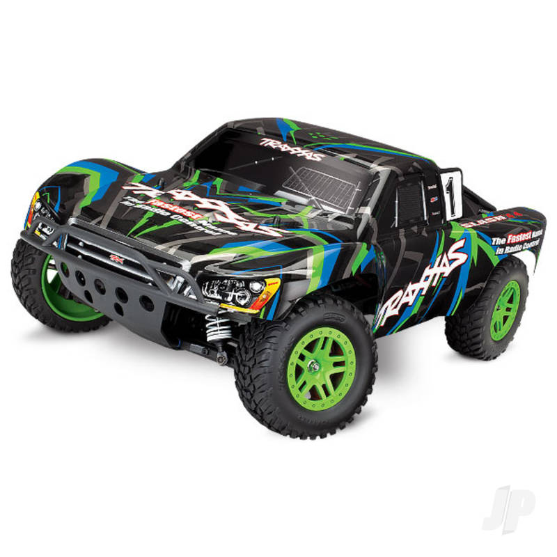 Green/Blue Slash 4X4 1:10 4X4 Electric Short Course Truck (+ TQ, XL-5, Titan 550, 7-Cell NiMH, DC Charger)
