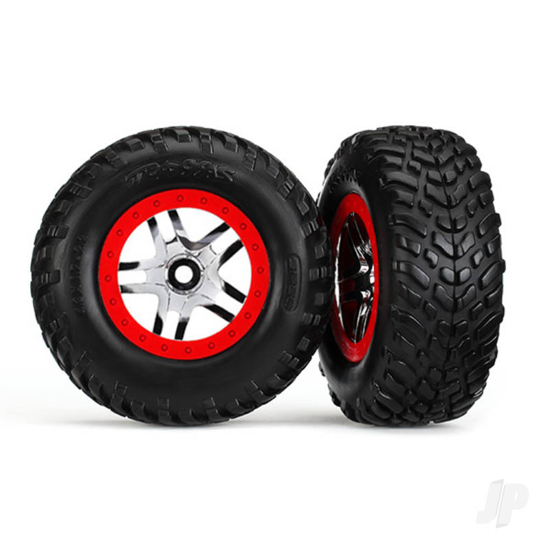 Tires & wheels, assembled, glued (SCT Split-Spoke chrome, red beadlock style wheels, dual profile (2.2in outer, 3.0in inner), SCT off-road racing tires, foam inserts) (2pcs) (4WD front & rear, 2WD rear) (TSM rated)