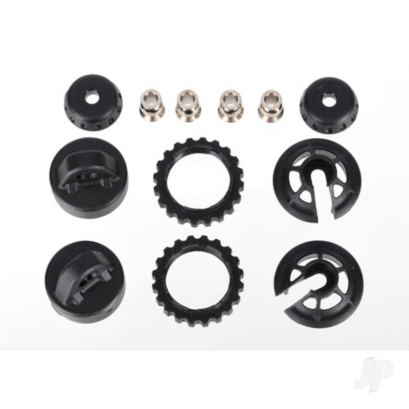 Caps and spring retainers, GTR Long / XX-Long shock (upper cap (2pcs) / hollow balls (4pcs) / bottom cap (2pcs) / upper retainer (2pcs) / lower retainer (2pcs))
