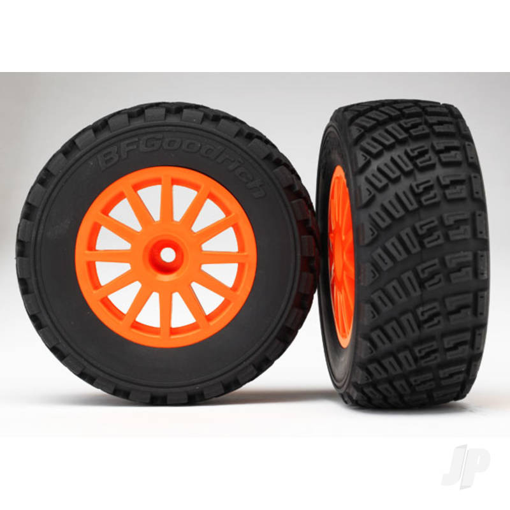 Tyres & wheels, assembled, glued (orange wheels, BFGoodrich Rally, gravel pattern Tyres, foam inserts) (2pcs) (TSM rated)