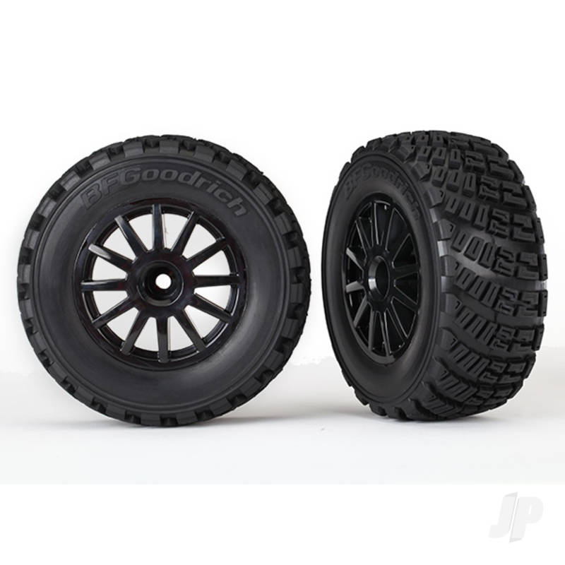 Tyres and Wheels, Assembled Glued Gravel Pattern Tyres (2 pcs)