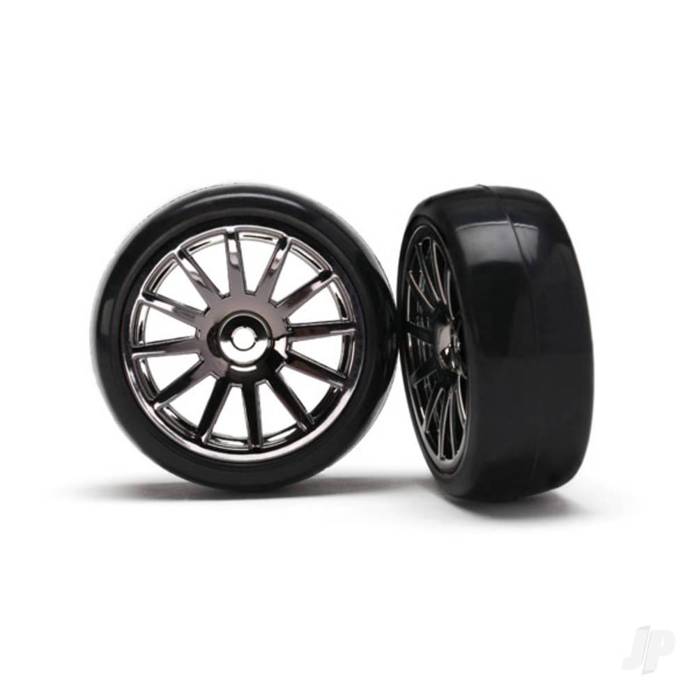 Tyres & Wheels, assembled, glued (12-spoke black chrome wheels, slick Tyres) (2pcs)