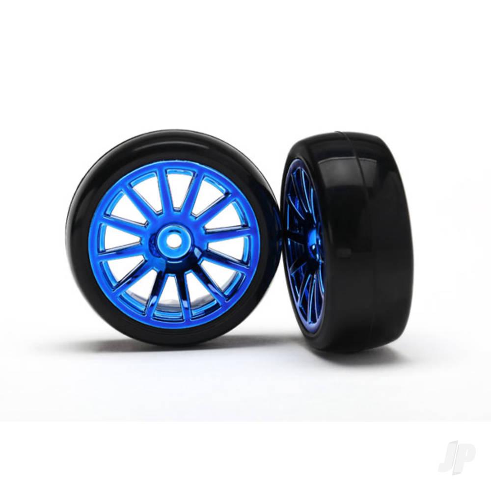 Tyres & Wheels, assembled, glued (12-spoke blue chrome wheels, slick Tyres) (2pcs)