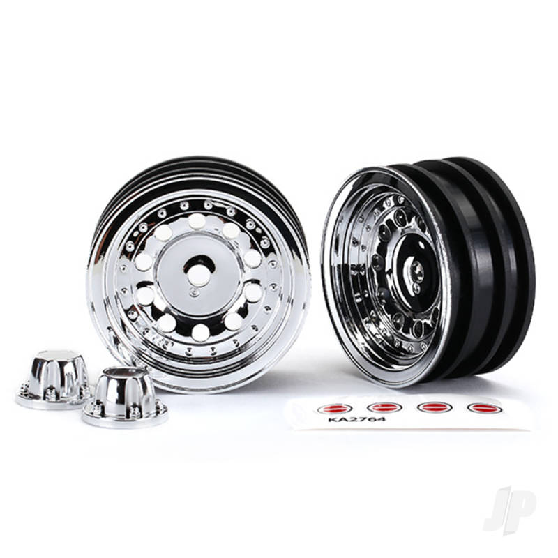 Wheels, 1.9in, chrome (2pcs) / center caps (2pcs) / decal sheet (requires #8255A extended stub axle)