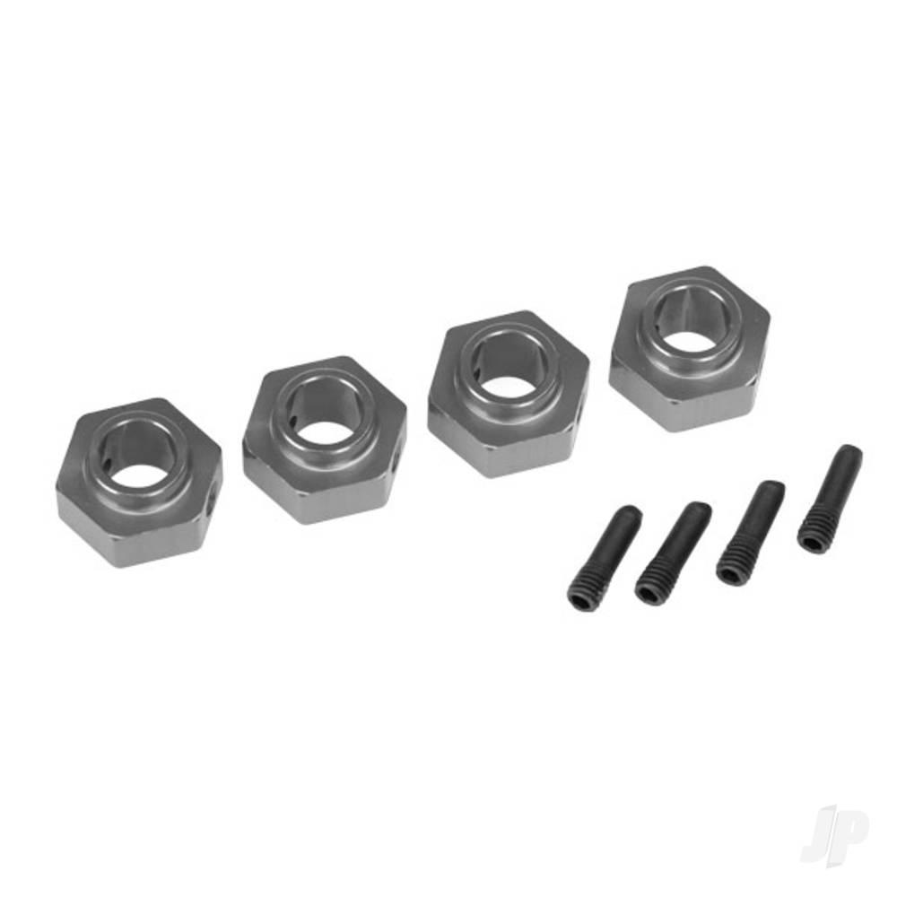 Wheel hubs, 12mm hex, 6061-T6 aluminium (charcoal grey-anodized) (4pcs) / screw pin (4pcs)