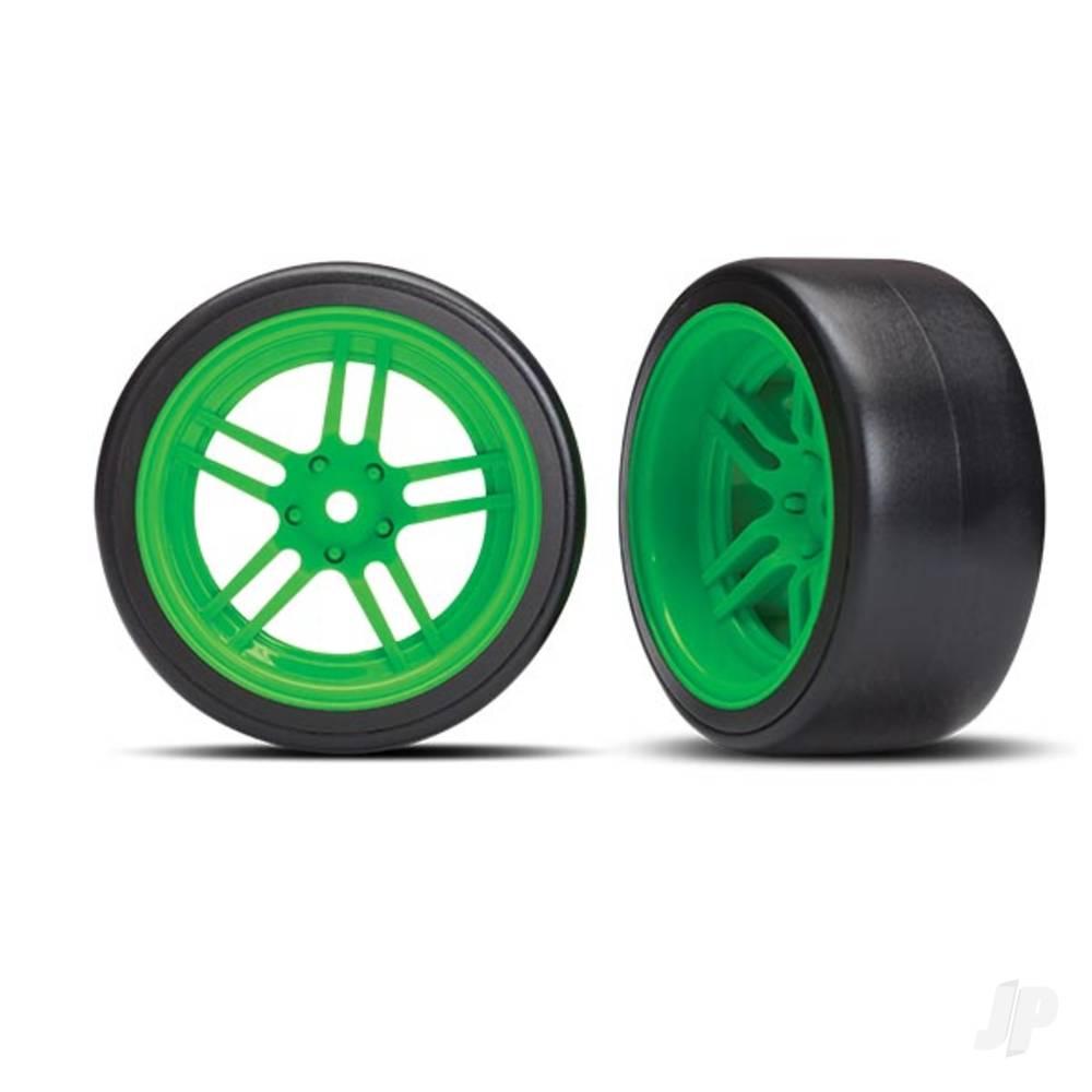 Tires and wheels, assembled, glued (split-spoke green wheels, 1.9in Drift tires) (rear)