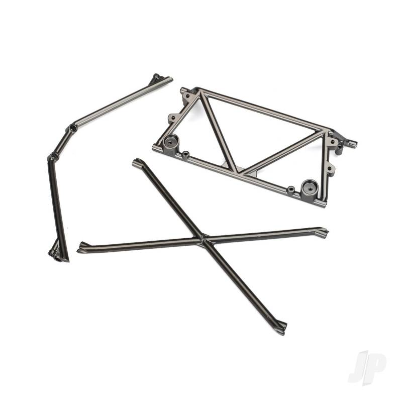 Tube chassis, center support / cage top / rear cage support (satin black chrome-plated)